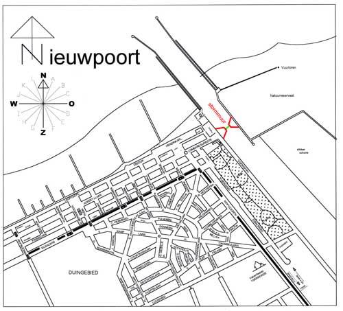 kaart Nieuwpoort-Bad met aanduiding stormvloedkering